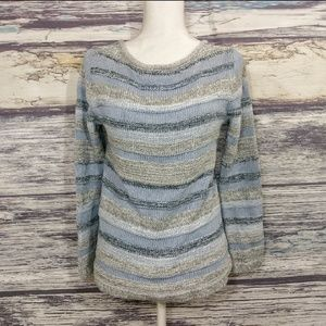 L.L.Bean blue and silver christmas sweater size m